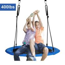 40  Saucer Tree Swing for Backyard Kids w/ 2 Carabiners&10 FT Tree Swing Straps 600lbs Weight Capacity Weather Resistant 400D Fabric Durable Steel Frame Adjustable Ropes to 63inch(40inch)