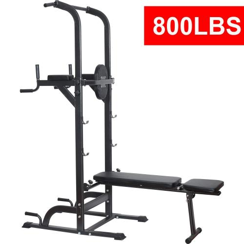 Reliancer Power Tower Dip Station High Capacity 800lbs W Weight Sit Up Bench Adjustable Height Heavy Duty Steel Multi Function Fitness Pull Up Chin Up Tower Equipment For Home Office Gym Dip Stands