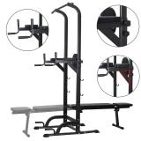Power Tower Dip Station High Capacity 800lbs w/Weight Sit Up Bench Adjustable Height Heavy Duty Steel Multi-Function Fitness Pull Up Chin Up Tower Equipment for Home Office Gym Dip Stands