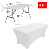 Reliancer 2 Pack 4\6\8FT Rectangular Spandex Table Cover Four-Way Tight Fitted Stretch Tablecloth Table Cloth for Outdoor Party DJ Tradeshows Banquet Vendors Weddings Celebrations (2PC 4FT, White)Reliancer 2 Pack 4\6\8FT Rectangular Spandex Table Cover Four-Way Tight Fitted Stretch Tablecloth Table Cloth for Outdoor Party DJ Tradeshows Banquet Vendors Weddings Celebrations (2PC 4FT, White)