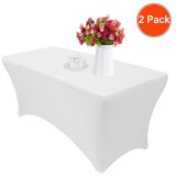 Reliancer 2 Pack 4\6\8FT Rectangular Spandex Table Cover Four-Way Tight Fitted Stretch Tablecloth Table Cloth for Outdoor Party DJ Tradeshows Banquet Vendors Weddings Celebrations (2PC 8FT, White)