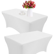 Reliancer 2 Pack 4\6\8FT Rectangular Spandex Table Cover Four-Way Tight Fitted Stretch Tablecloth Table Cloth for Outdoor Party DJ Tradeshows Banquet Vendors Weddings Celebrations (6FT(2PC),White)