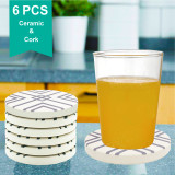 Reliancer 6PCS Absorbent Coasters Set For Drinks Ceramic Stone w/ Non-slip Cork Backing Large Thirsty Stone Coaster Water Absorb Spills Cup Holder for Home Mugs Coffee Beer Glass Bottle  (Purple)