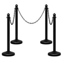 4 Pack Plastic Stanchions Set w/ 3PCS 40  Link Chain Sentry Stanchion Kit w/Fillable Base Crowd Control Safety Stanchion Barriers Easy Connect Assembly Outdoor and Indoor Posts Queue Barrier