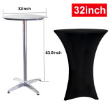 Reliancer 32inch Highboy Cocktail Round Spandex Table Cover Four-Way Tight Fitted Stretch Tablecloth Table Cloth for Outdoor Party DJ Tradeshows Banquet Vendors Weddings(32''X43'',Black)