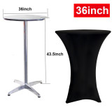 Reliancer 36inch Highboy Cocktail Round Spandex Table Cover Four-Way Tight Fitted Stretch Tablecloth Table Cloth for Outdoor Party DJ Tradeshows Banquet Vendors Weddings(36''X43'',Black)
