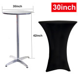 Reliancer 2 Pack 30inch Highboy Cocktail Round Spandex Table Cover Four-way Tight Fitted Stretch Tablecloth Table Cloth Outdoor Party DJ Tradeshows Banquet Vendors Weddings(30''X42''(2PC),Black)