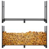 8 FT Firewood Log Rack w/ 600D Waterproof Cover Indoor Outdoor Heavy Duty Steel Log Holder Fire Wood Holders Storage Carrier Large Storage Capacity for Home Backyard Patio Garden Fireplace