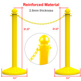 Reliancer 4 Pack Plastic Stanchions set w/3PCS 40  Link Chain Sentry Stanchion Kit w/ Fillable Base Crowd Control Safety Stanchion Barriers Easy Connect Assembly Outdoor and Indoor Posts Queue Barrier