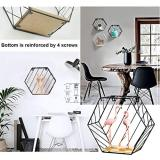 Wall Mounted Shelves Metal Wire&Wooden Storage Shelves Decorative Hexagon Floating Display Racks Magazine Rack Record Holder Plant Flower Rack Wall Decor for Home Office Decoration