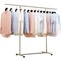 Heavy Duty Large Garment Rack Stainless Steel Clothes Drying Rack Commercial Grade Extendable 47-77inch Clothes Rack Adjustable Clothes Hanger Rolling Rack with 4 Casters Tool Golves 10 Hook