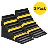 2 Pack Wheel Chocks Heavy Duty Extra Large Industrial Rubber Wheel Chock Blocks w/Handle Reflective Strips for Travel Trailer Hauler Truck Fire Truck Commercial Vehicle RV 10  x 6  x 7.3