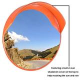 30  Security Mirror PC Convex Traffic Mirror Wide Angle Curved Safety Mirror Circular Pole Mount w/Adjustable Bracket for Outdoor Indoor Driveway Road Shop Garage Parking Lot Blind Spot