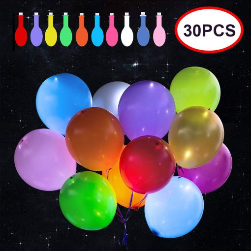 30 Pack LED Balloons 10 Colors Light Up Balloons Flashing Party Night Lights Lasts 12-24 Hours for Glow in the Dark Parties Birthday Wedding Decorations Halloween Christmas Festival Club Bar Concert