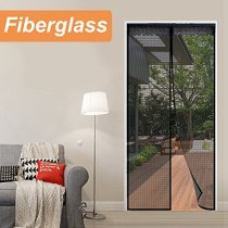Reliancer Fiberglass Magnetic Screen Door 60 x80  Double Door Magnet Screen Mesh Curtain for French Door Size Up to 58  x79  W/Full Frame Velcro Outdoor Patio(Fiberglass, 60*80)