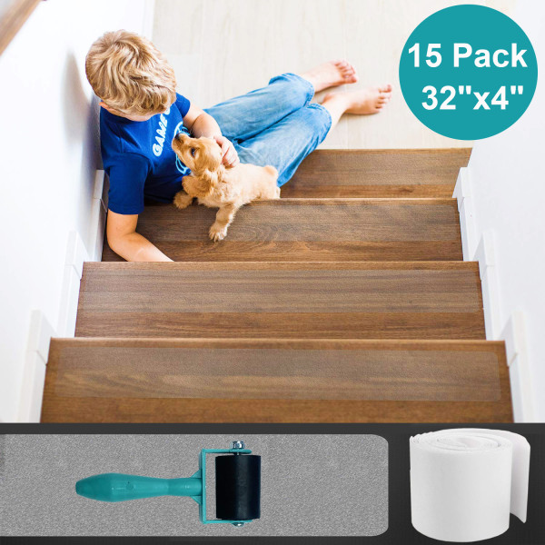 Reliancer Anti Slip Stair Treads Clear Tape 15 Pack Pre-cut Non Skid Transparent Safety Strips PEVA High Traction Grip Tape w/Roller For Kids The Elderly Pets Bathtub Bathroom(32X4inch)