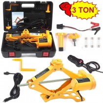 Electric Car Floor Jack 3 Ton All-in-one Automatic 12V Scissor Lift Jack Set for Sedans SUV w/Double Saddles Remote Tire Change Repair Emergency Tool Kits Vehicle Floor Jack Wheel Change