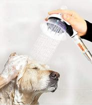 Reliancer Dog Shower Sprayer Kit 8' Hose Handheld Pet Bathing Brushes Tool w/Brush and Splash Shield Pets Scrubber Grooming Cleaning Set Powerful Shower Spray for Faucet Sink Bathtub w/Diverter
