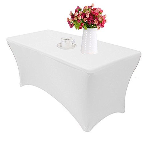 Reliancer 4\6\8FT Rectangular Spandex Table Cover Four-Way Tight Fitted Stretch Tablecloth Table Cloth for Outdoor Party DJ Tradeshows Banquet Vendors Weddings Celebrations(4FT,White)