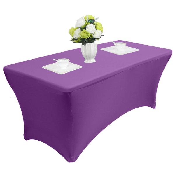Reliancer 4\6\8FT Rectangular Spandex Table Cover Four-Way Tight Fitted Stretch Tablecloth Table Cloth for Outdoor Party DJ Tradeshows Banquet Vendors Weddings Celebrations (4FT,Purple)