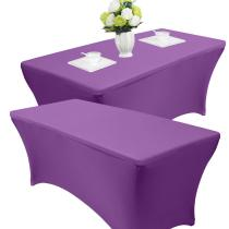 Reliancer 2 Pack 4\6\8FT Rectangular Spandex Table Cover Four-Way Tight Fitted Stretch Tablecloth Table Cloth for Outdoor Party DJ Tradeshows Banquet Vendors Weddings Celebrations(4FT(2PC),Purple)