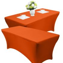 Reliancer 2 Pack 4\6\8FT Rectangular Spandex Table Cover Four-Way Tight Fitted Stretch Tablecloth Table Cloth for Outdoor Party DJ Tradeshows Banquet Vendors Weddings Celebrations(4FT(2PC), Orange)