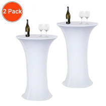 Reliancer 2 Pack 24inch Cocktail Round Spandex Table Cover Tight Fitted Stretch Tablecloth Table Cloth for Rounded Bottom Outdoor Party DJ Tradeshows Banquet Vendors Weddings(24 x43 ,White)