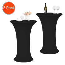 Reliancer 2 Pack 24inch Cocktail Round Spandex Table Cover Tight Fitted Stretch Tablecloth Table Cloth for Rounded Bottom Outdoor Party DJ Tradeshows Banquet Vendors Weddings(24 x43 ,Black)