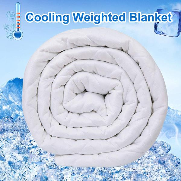 Reliancer Cooling Weighted Blanket for Hot Summer 15lbs 60''x80'' Dual Sided Cooling Ice Silk 100% Natural Cotton Glass Beads Heavy Blanket Quilt for 120-180lbs Women Men Fits Queen King