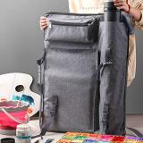 Reliancer Artist Portfolio Backpack and Tote 4K Waterproof Art Carrying Case Shoulder Bag Large Drawing Boards Bag w/Handle for Sketching Painting Art Supplies Storage Students Hobbyist Architect(Grey w/Folding Chair Pocket)