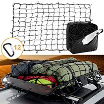 3'x4' Latex Bungee Cargo Net Stretches to 6'x8' Heavy Duty Elastic Luggage Netting with 12 Aluminum D-Clip Tangle-Free Carabiners Truck Bed Mesh Stretchable Travel Net for Pickup SUV Trailer Boat