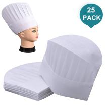 Reliancer 25 Pack Disposable Chef Hats Children SMS Non Woven Kitchen Cooking Hat Round White Paper Chef Toques Culinary Caps Chef Supplies for Kids Child Adults Party Baking Restaurant School Classes