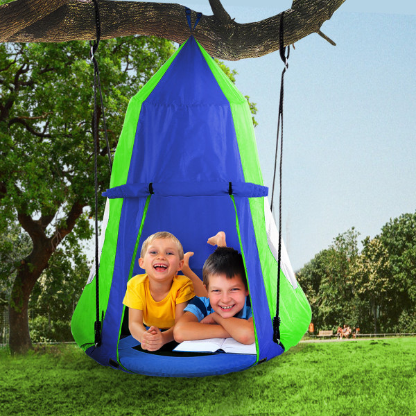 Hanging Tree Swing Tent Waterproof Kids Backyard Hammock Chair Max Capacity 600lbs Detachable Play Tent Swing Play House Castle Nest Pod Indoor Outdoor Bedroom Ceiling Hanging Tent Camping Tree House
