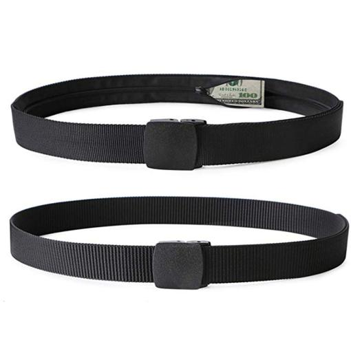 2 Pack Travel Security Belt Strap Hidden Money Safety Belt with Secret Pocket Cashsafe Anti Theft Travel Wallet Unisex Military Tactical Belt 1000D Nylon Metal Free Airport Friendly Men Women Outdoor