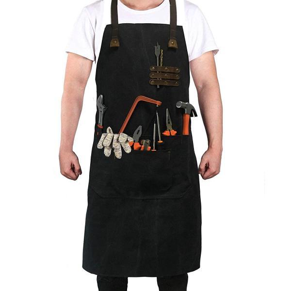 Reliancer Luxury Canvas Work Apron Heavy Duty Water Resistant Tools Aprons w/Pocket&Adjustable Cross-Back Straps Anti-oil Workshop Woodworking Apron for Carpenter Painter chefs BBQ Men & Women(Black)
