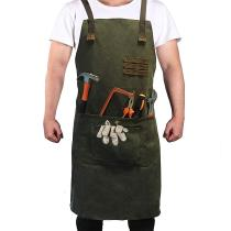 Reliancer Luxury Canvas Work Apron Heavy Duty Water Resistant Tools Aprons w/Pocket&Adjustable Cross-Back Straps Anti-oil Workshop Woodworking Apron for Carpenter Painter chefs BBQ Men & Women(Atrovirens)