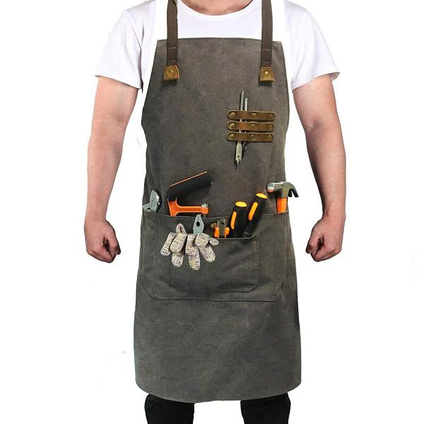 Reliancer Luxury Canvas Work Apron Heavy Duty Water Resistant Tools Aprons w/Pocket&Adjustable Cross-Back Straps Anti-oil Workshop Woodworking Apron for Carpenter Painter chefs BBQ Men & Women(Grey)