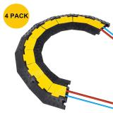 Reliancer 4 Pack 2-Channel Left-Turn Rubber Cable Protector Ramp Corners 45 Degree for Cord Hose Track Protective Cover Ramps Driveway Traffic Speed Bumps Wires Concealer for Garage Parking Lot RV SUV
