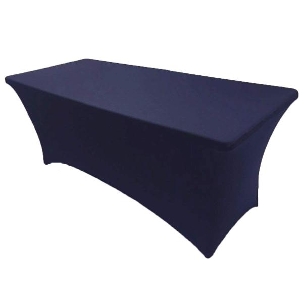 Reliancer 2 Pack 4\6\8FT Rectangular Spandex Table Cover Four-Way Tight Fitted Stretch Tablecloth Table Cloth for Outdoor Party DJ Tradeshows Banquet Vendors Weddings Celebrations (2PC 6FT, Navy Blue)