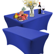 Reliancer 2 Pack 4\6\8FT Rectangular Spandex Table Cover Four-Way Tight Fitted Stretch Tablecloth Table Cloth for Outdoor Party DJ Tradeshows Banquet Vendors Weddings Celebrations (2PC 8FT, Royal Blue)