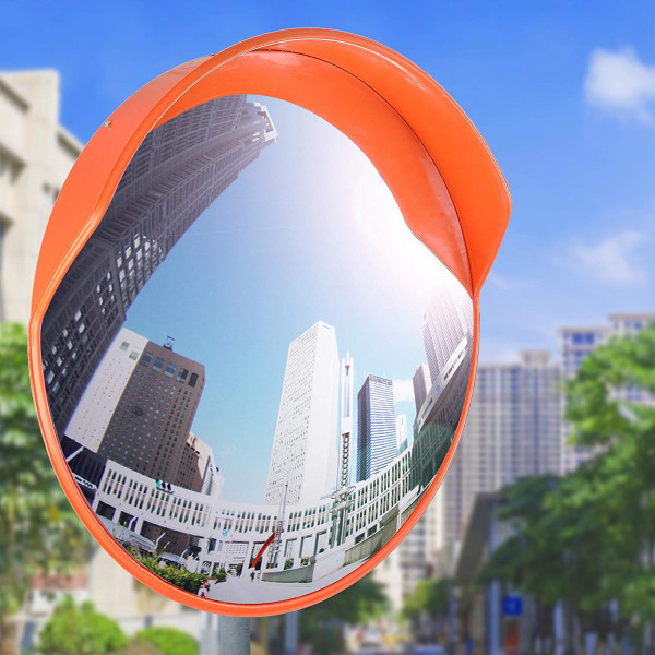 Reliancer 24  Security Mirror PC Convex Traffic Mirror Wide Angle Curved Safety Mirror Circular Pole Mount w/Adjustable Bracket for Outdoor Indoor Driveway Road Shop Garage Parking Lot Blind Spot