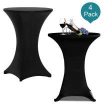 Reliancer 4 Pack 30inch Highboy Cocktail Round Spandex Table Cover Four-Way Tight Fitted Stretch Tablecloth Table Cloth for Outdoor Party DJ Tradeshow Banquet Vendor Wedding(4PC 30''X42'',Black)
