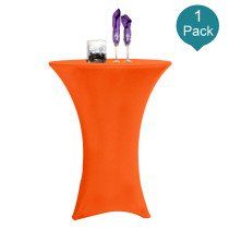 Reliancer 1 Pack 32inch Highboy Cocktail Round Spandex Table Cover Four-Way Tight Fitted Stretch Tablecloth Table Cloth for Outdoor Party DJ Tradeshow Banquet Vendor Wedding(1PC 32''X43'',Orange)