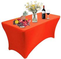 Reliancer 2 Pack 4\6\8FT Rectangular Spandex Table Cover Four-Way Tight Fitted Stretch Tablecloth Table Cloth for Outdoor Party DJ Tradeshows Banquet Vendors Weddings Celebrations (2PC 4FT, Red)