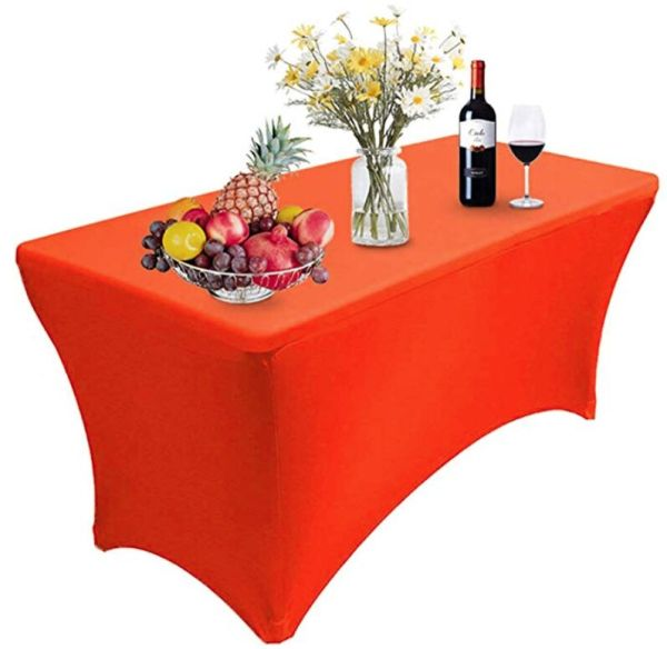 Reliancer 2 Pack 4\6\8FT Rectangular Spandex Table Cover Four-Way Tight Fitted Stretch Tablecloth Table Cloth for Outdoor Party DJ Tradeshows Banquet Vendors Weddings Celebrations (1PC 8FT, Red)