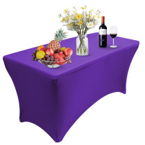 Reliancer 2 Pack 4\6\8FT Rectangular Spandex Table Cover Four-Way Tight Fitted Stretch Tablecloth Table Cloth for Outdoor Party DJ Tradeshows Banquet Vendors Weddings Celebrations (8FT(2PC),Purple)