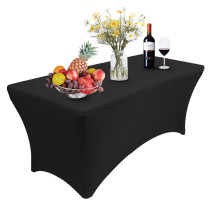 Reliancer 4\6\8FT Rectangular Spandex Table Cover Four-way Tight Fitted Stretch Tablecloth Table Cloth for Outdoor Party DJ Tradeshows Banquet Vendors Weddings Celebrations(6FT,Black)