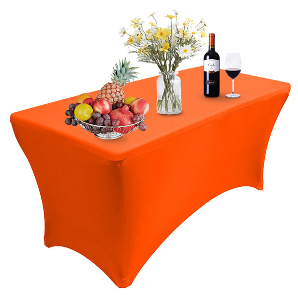 Reliancer 4\6\8FT Rectangular Spandex Table Cover Four-Way Tight Fitted Stretch Tablecloth Table Cloth for Outdoor Party DJ Tradeshows Banquet Vendors Weddings Celebrations(8FT,Orange)