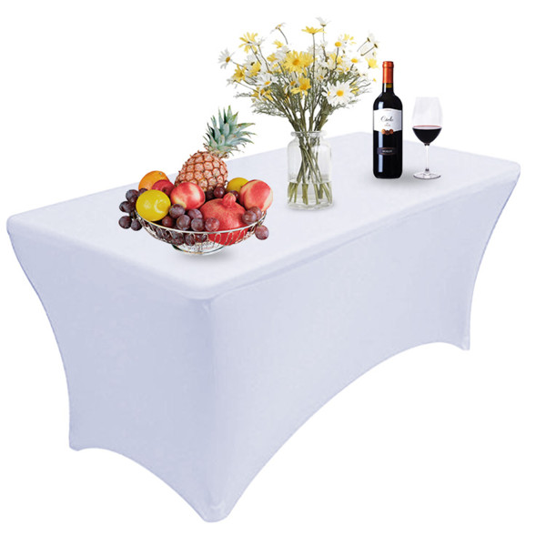 Reliancer 4\6\8FT Rectangular Spandex Table Cover Four-way Tight Fitted Stretch Tablecloth Table Cloth for Outdoor Party DJ Tradeshows Banquet Vendors Weddings Celebrations (8FT,White)
