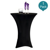 Reliancer 1 Pack 24inch Cocktail Round Spandex Table Cover Tight Fitted Stretch Tablecloth Table Cloth for Rounded Bottom Outdoor Party DJ Tradeshows Banquet Vendors Weddings(24 x43 ,Black)